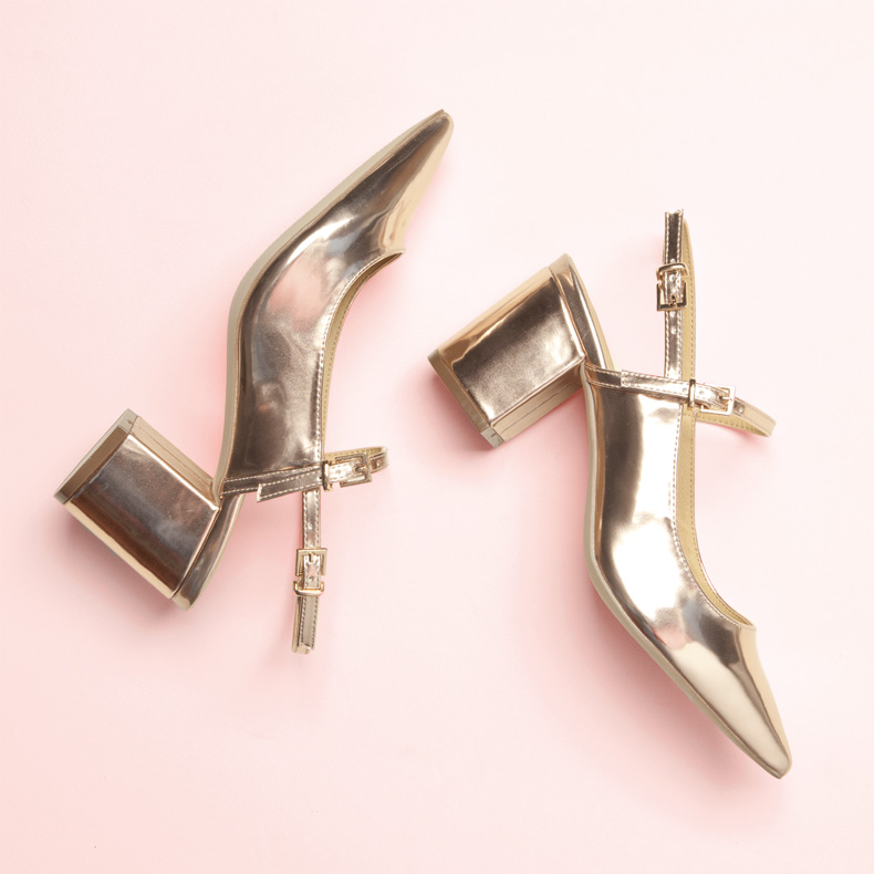 schuh rose gold low block heel with pointed toe and sling-back strap