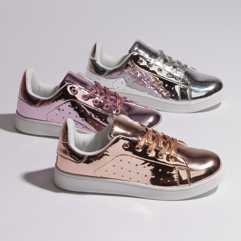 schuh Miss Jackson reflective metallic trainers in silver, bronze and pink