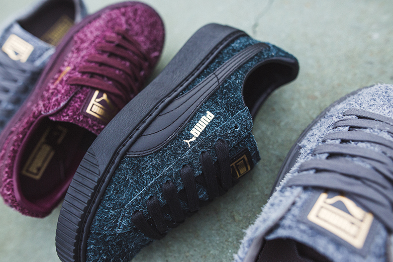 Close up of detailing on Puma suede platform elemental