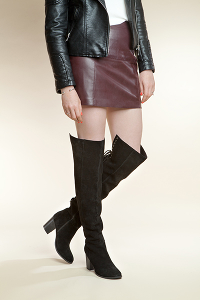 womens black lace up over the knee boots with burgundy leather skirt and black leather jacket on schuh blog