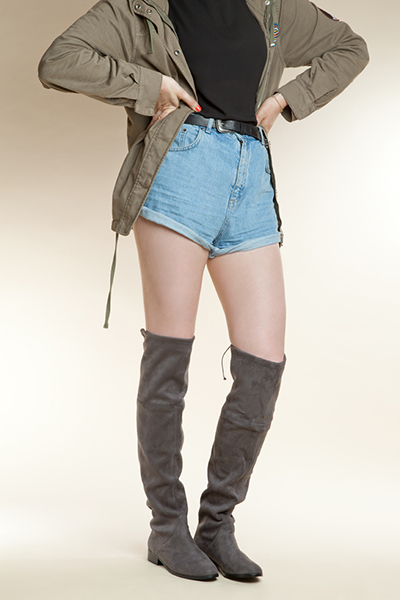 womens grey over the knee boots from schuh with denim shorts and khaki  jacket