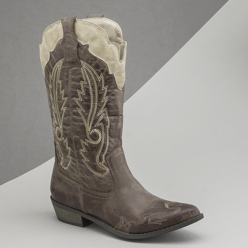 womens stone cowboy boots from Coconuts called the Cimarron and featuring western stitch detail