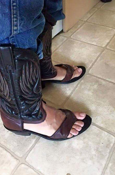 cowboy boots and sandals hybrid with jeans