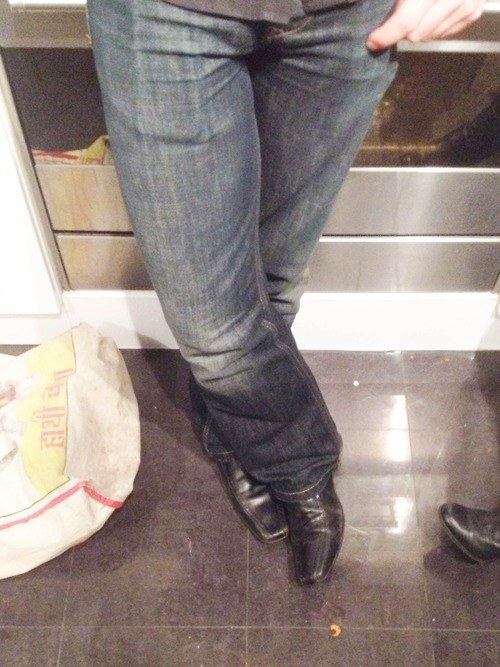 jeans and shoes black slip ons
