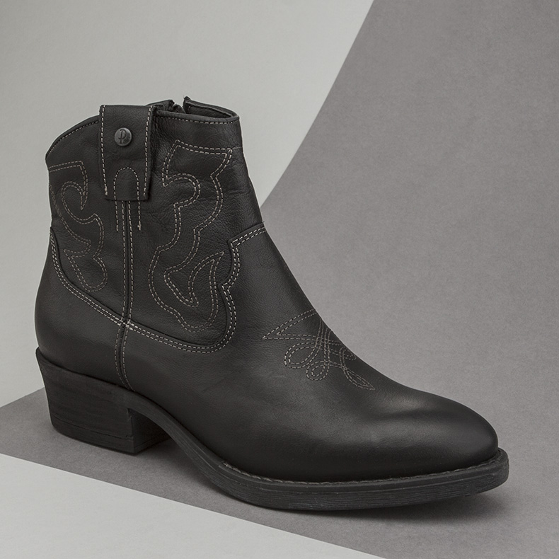 womens black leather cowboy ankle boot from Red or Dead called the Ida and featuring western stitch detail