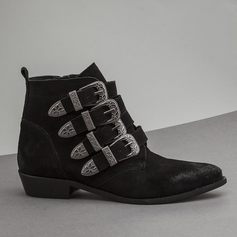 womens back suede western ankle boots from schuh called the Montana and featuring silver buckle detail