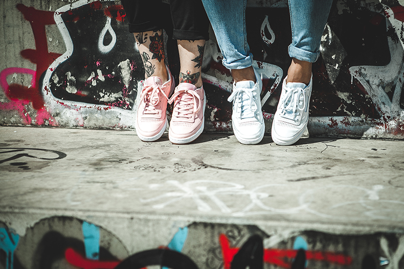 a5cd29a5967 womens Reebok Club C trainers in white and pink leather from FACE Stockholm  collaboration