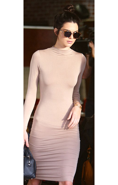 Kendall Jenner wearing a nude bodycon dress