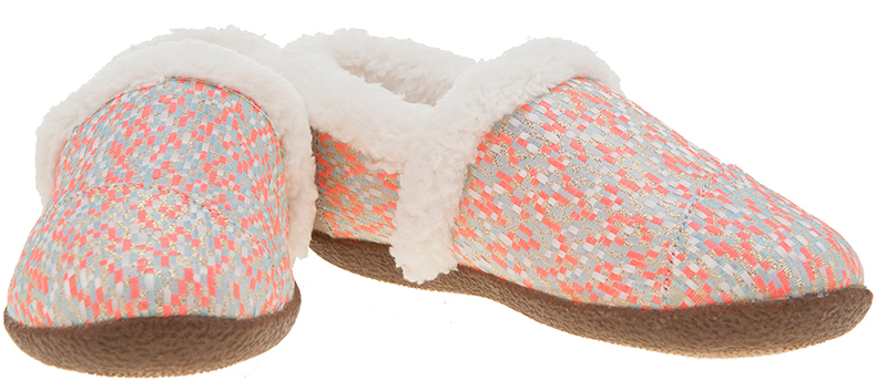 TOMS House Slipper in light grey with pink and metallic detailing