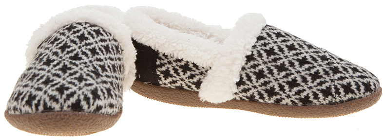 TOMS House slipper in black and white fair isle style knit