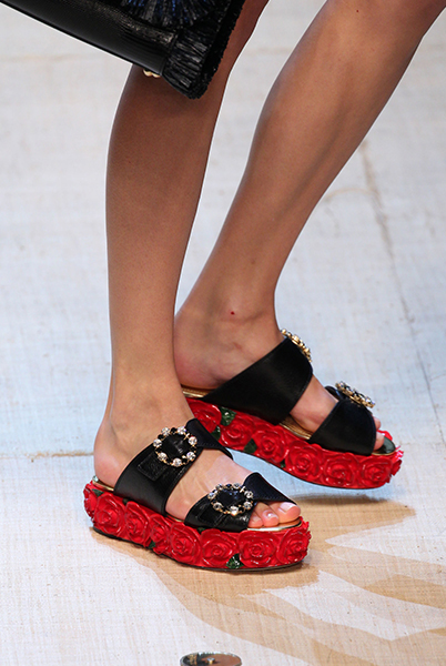 Dolce and Gabanna flatform sandals with rose detail