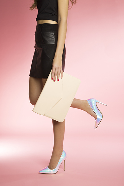 missguided natural envelope clutch bag and silver point toe court high heels at schuh