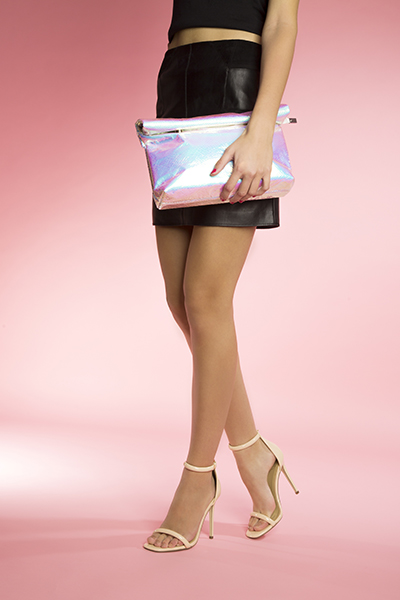 missguided silver rolle top clutch bag and natural strap barely there high heels at schuh