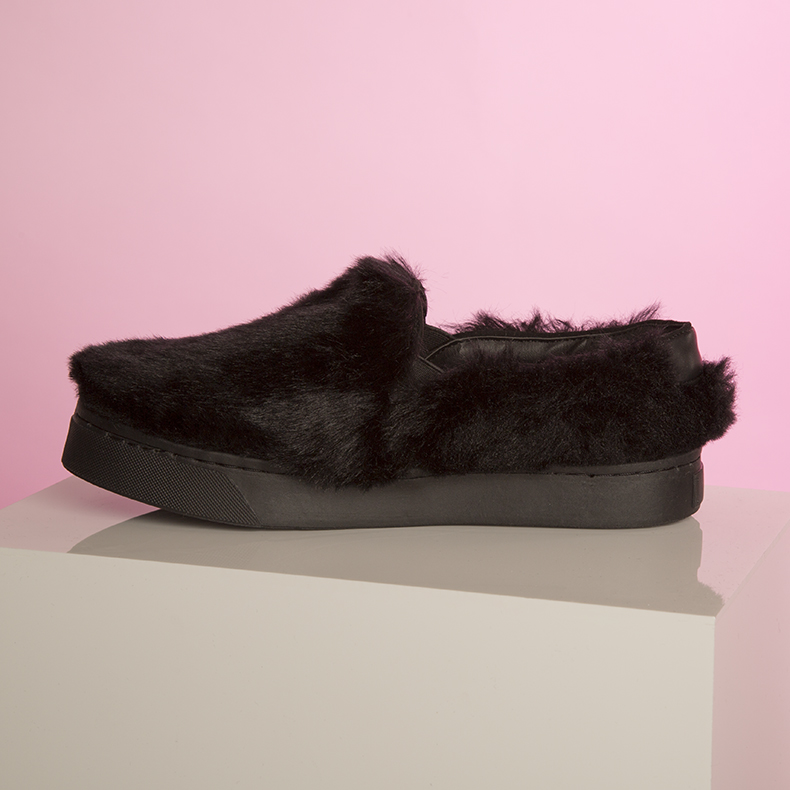 womens schuh black Discotheque furry flats