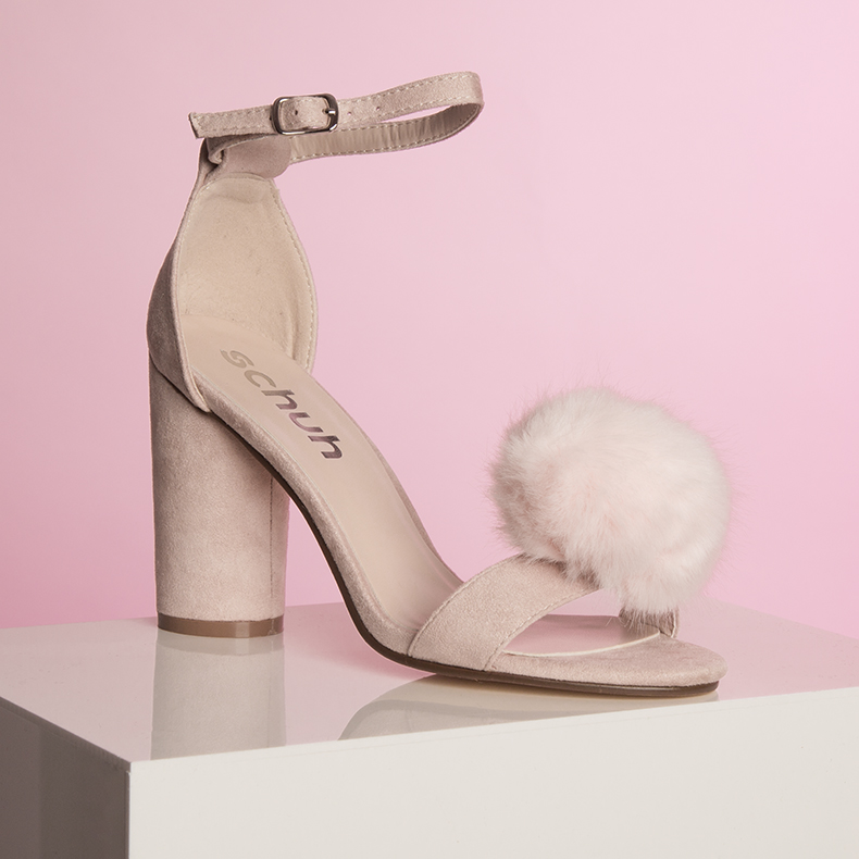 womens pale pink fluffy high heels from schuh with pompom embellishment