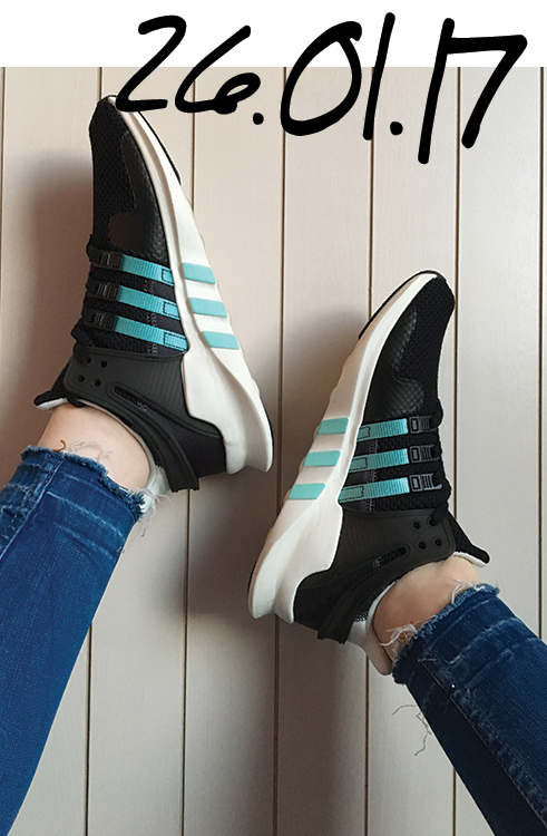 adidas EQT Support Black and blue trainers