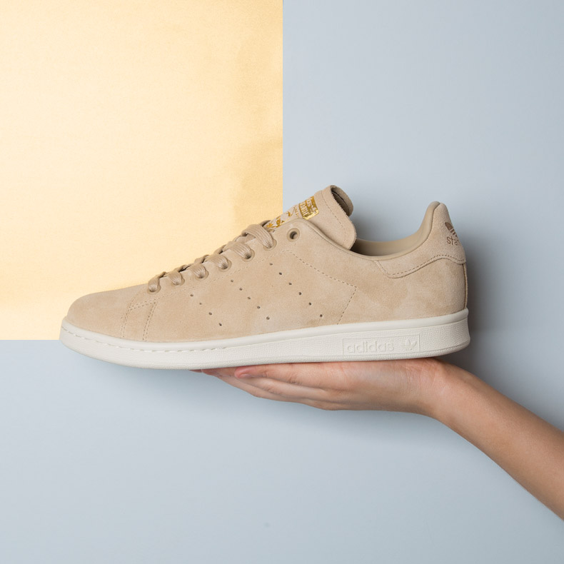 adidas Stan Smith in stone suede with gold accents