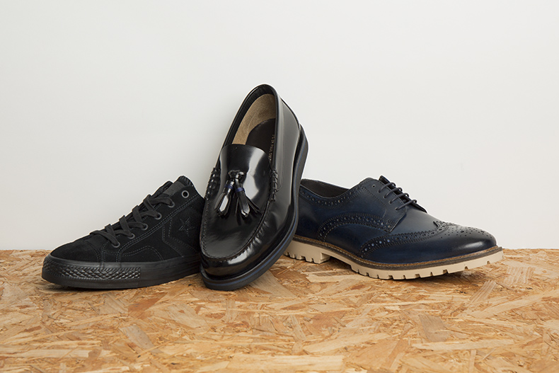 mens black Converse trainers, black leather tassel loafers and blue brogues with white soles for work and office shoes schuh blog