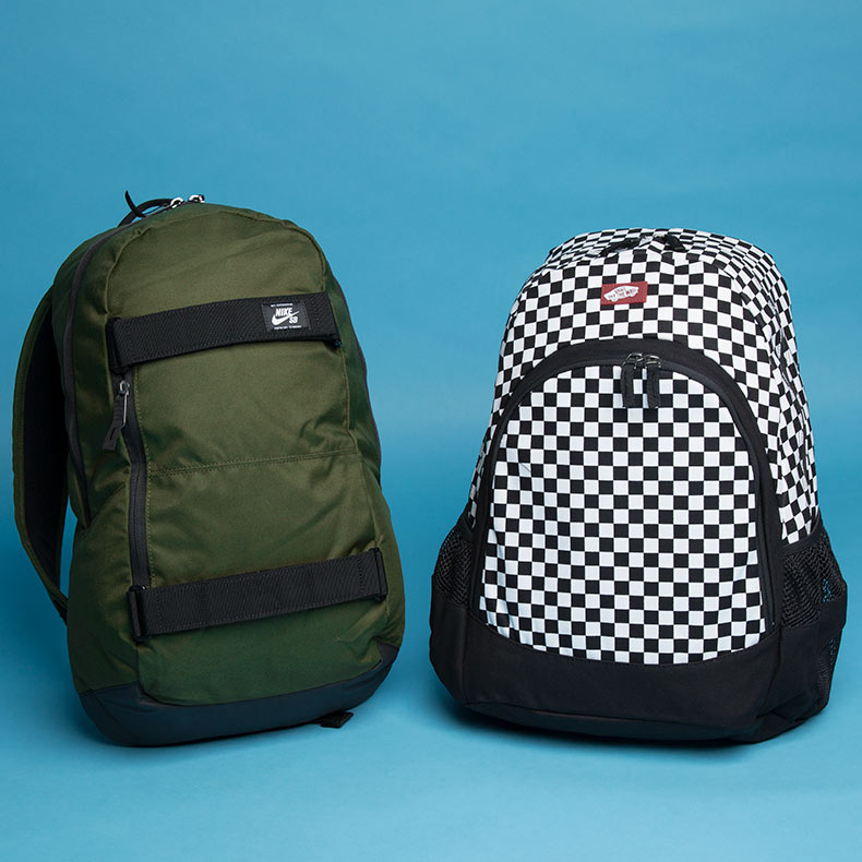 nike sb khaki courthouse backpack and bans balck and white van doren backpack at schuh