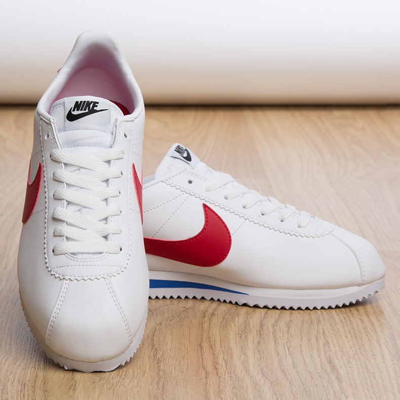 womens Nike Cortez leather trainers in white blue and red available at schuh