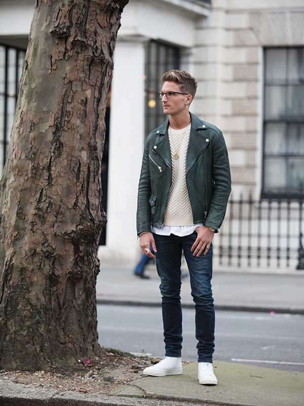 Oliver Proudlock at LFWM wearing white Converse All Star II Hi trainers schuh blog