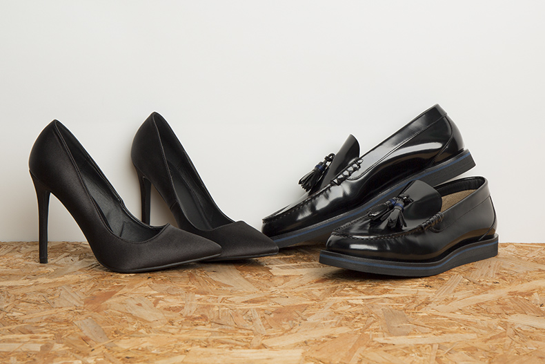 womens black high heels and mens black leather tassel loafers for work and office shoes schuh blog