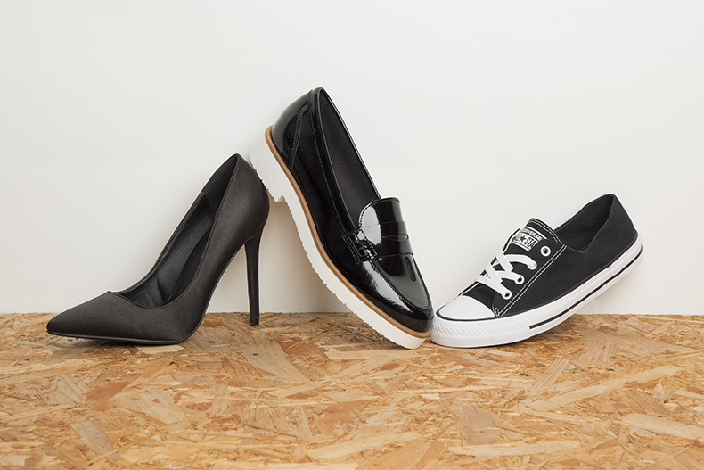 womens black high heels, patent loafers with white soles and black and white Converse trainers for work and office shoes schuh blog