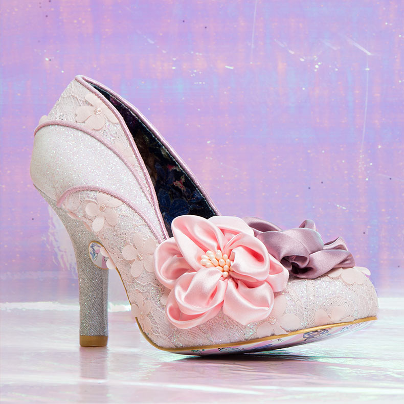 Irregular Choice Peach Melba heels with silk flowers and floral details