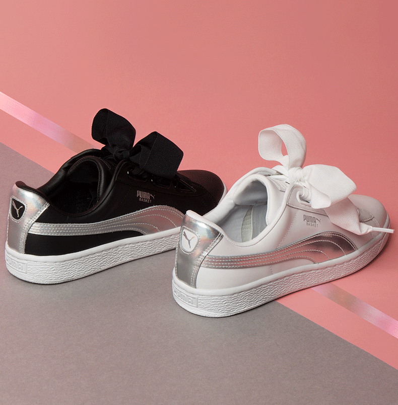 cf57f40d673 Puma Basket Heart Explosive in black and white with holographic strip and  oversized ribbons