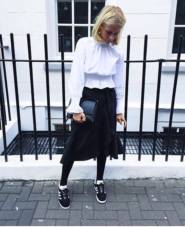 schuh LFW blog red magazine sophie hooper wearing black and white adidas gazelle trainers