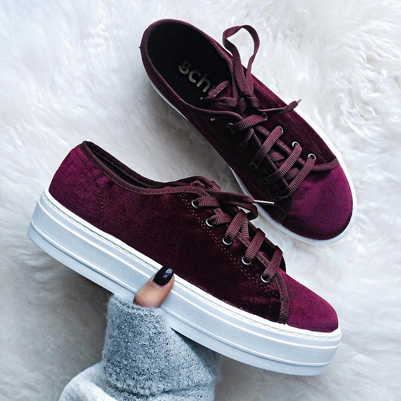 womens burgundy velvet flatform shoes on schuh blog