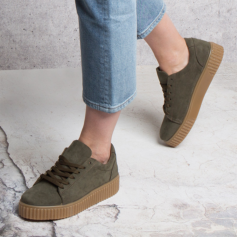womens khaki flatform shoes with creeper inspired sole on schuh blog