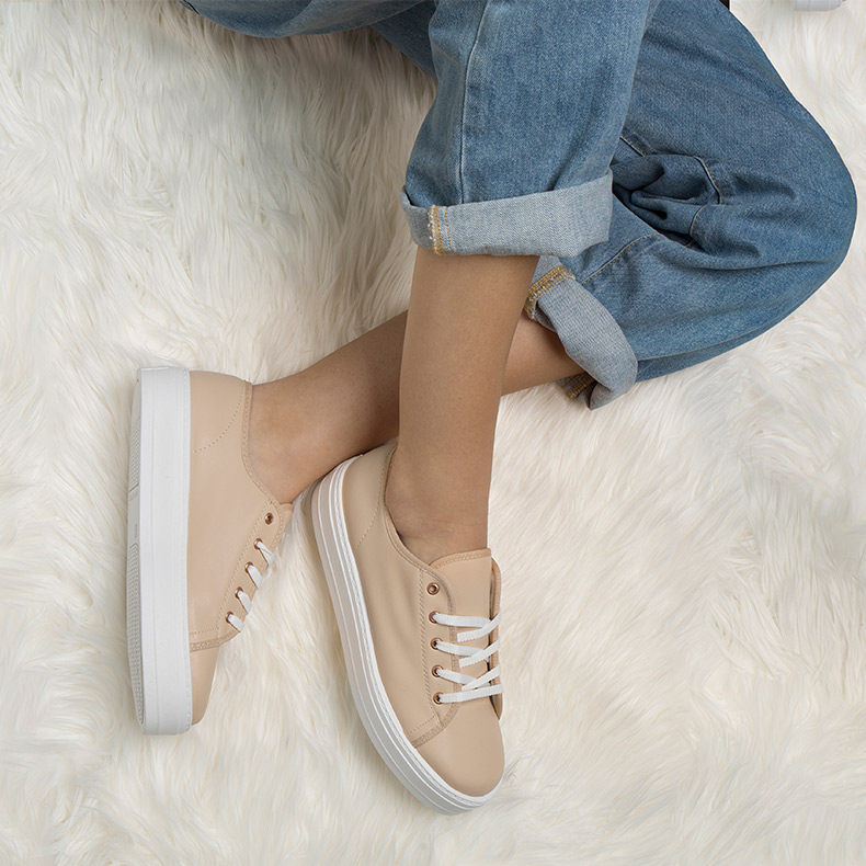 womens nude faux-leather flatforms with white sole on schuh blog
