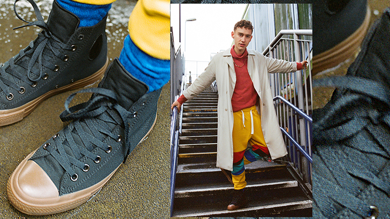 Olly Alexander Converse the sequel chuck ii black and gum trainers
