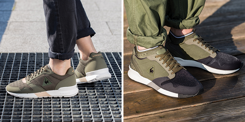 le coq sportif khaki womens and mens trainers