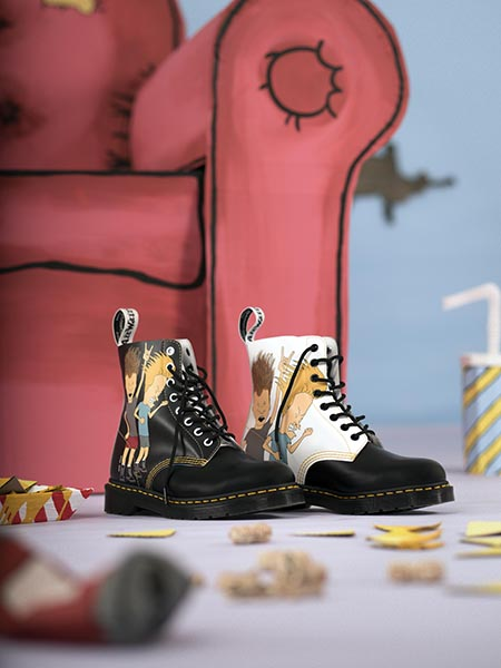 dr martens beavis butt head mtv black white