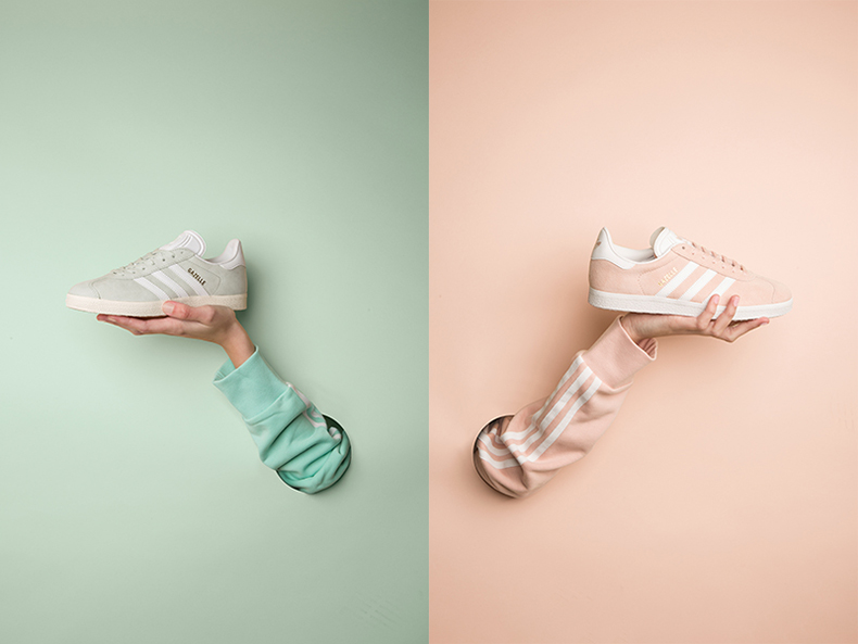 womens adidas gazelle trainers in pale pink or light green at schuh