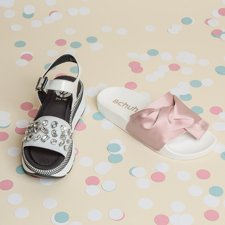 Red Or Dead Kawaii in white and schuh Cutie Patootie in pink
