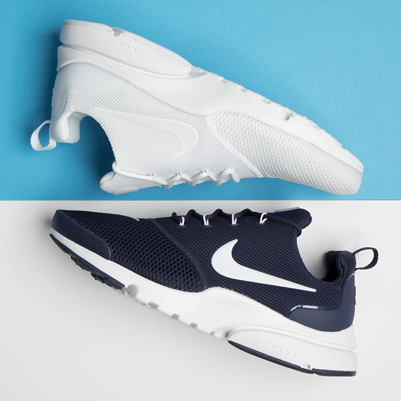 nike air presto white and navy trainers