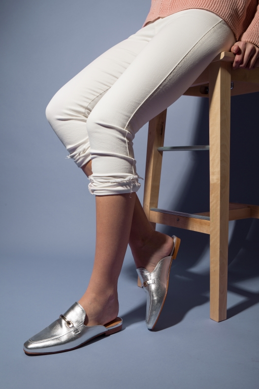 metallic silver loafer trend