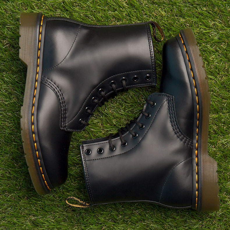 Classic Dr. Martens black eight eye boots