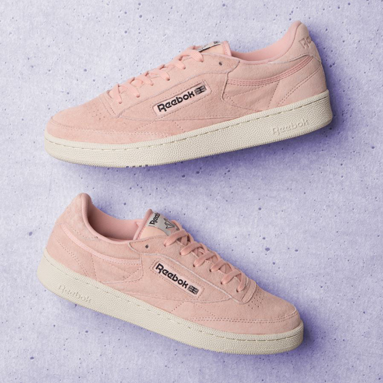 reebok club c pastel mens pink trainers
