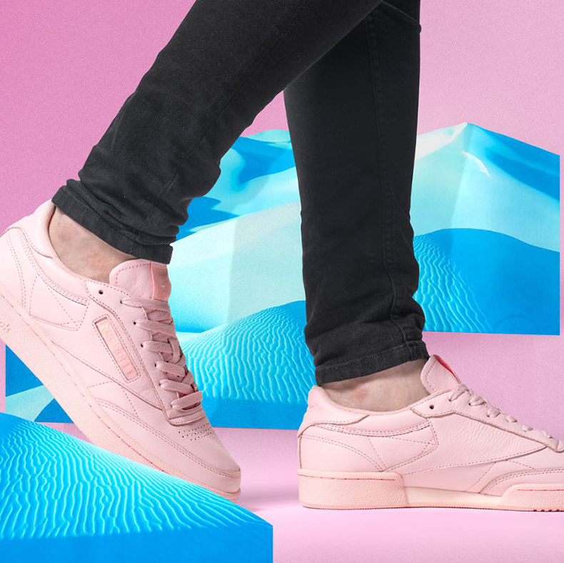 reebok club c leather mens pink trainers