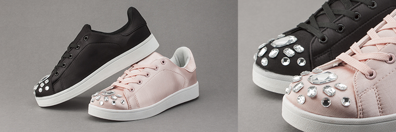 womens schuh sensation trainers in pale pink and black