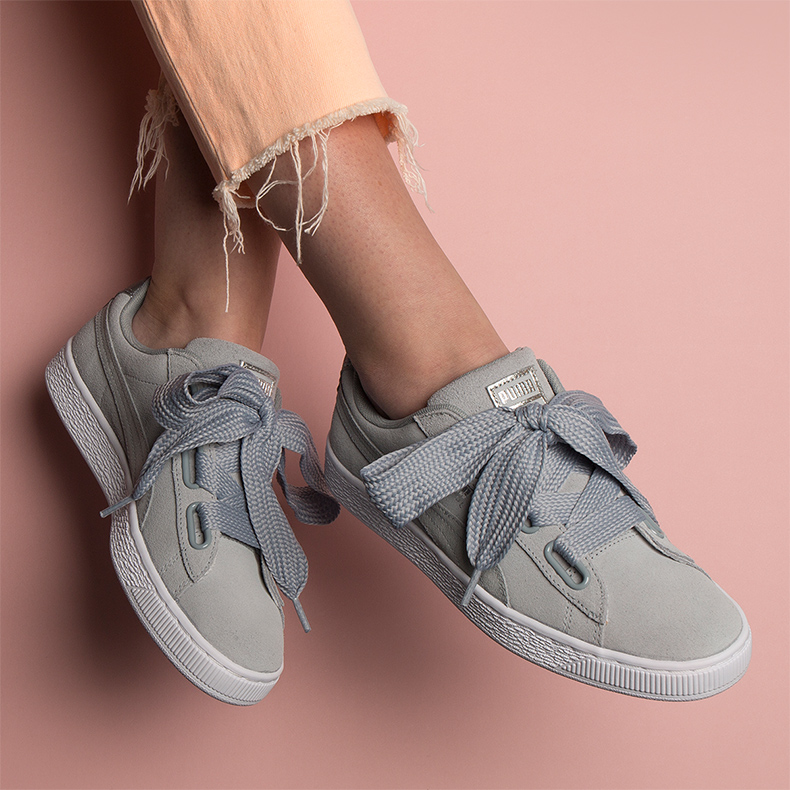 Puma basket heart safari in grey
