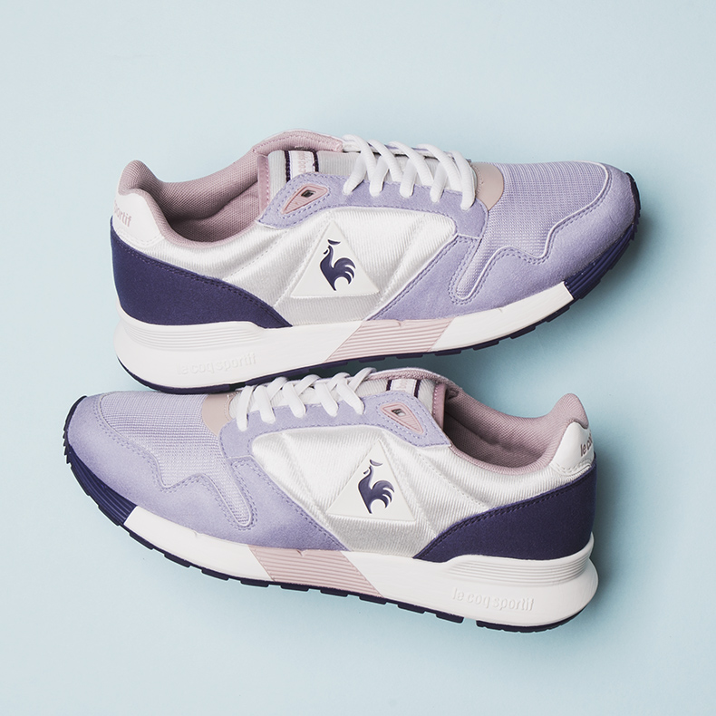 le coq sportif omega mesh pink and purple trainers