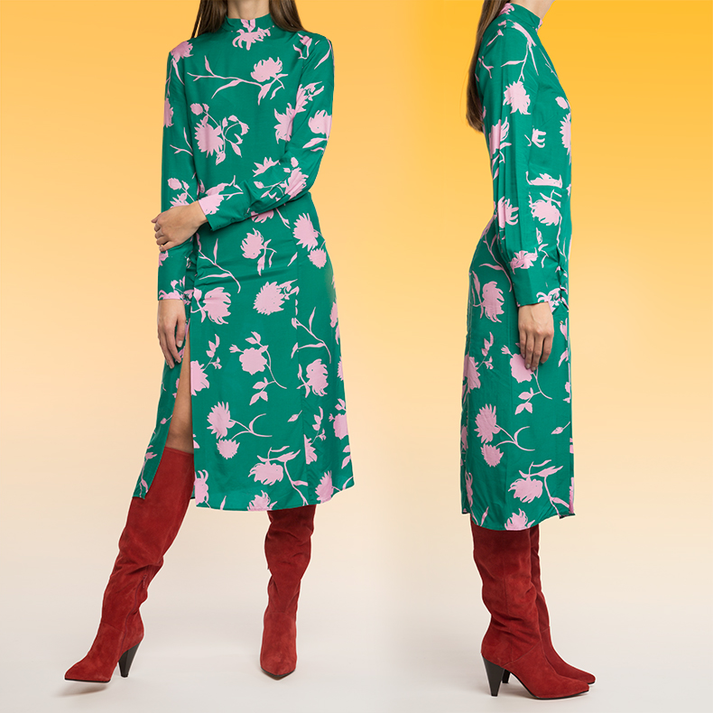 Double image of model wearing schuh epic boots in red